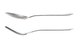 Vaisselle de cuisine de fourchette et de cuillère d'isolement au-dessus du blanc photographie stock