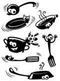 Vaisselle de cuisine drôle mignonne avec des yeux Image stock