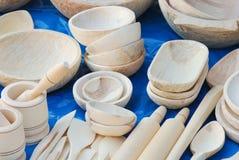 Vaisselle de cuisine en bois Image stock