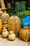Vaisselle de cuisine faite en bambou Images libres de droits