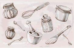 Vaisselle de cuisine, illustration, croquis Vecteur - illustration illustration stock