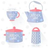Vaisselle de cuisine plate Photos libres de droits