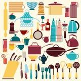 Vaisselle de cuisine réglée - illustration Photos stock
