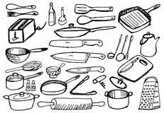 Vaisselle de cuisine sur le fond blanc Photo libre de droits