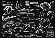 Vaisselle de cuisine sur le fond noir Photos libres de droits