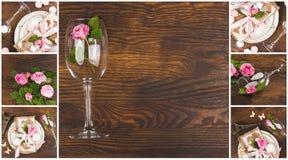 Vaisselle et argenterie avec les roses rose-clair sur le fond en bois Photographie stock libre de droits
