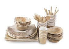 Vaisselle jetable écologique photos stock