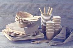 Vaisselle jetable écologique image stock