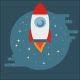 Vaivém espacial Rocket no círculo no estilo liso Fotografia de Stock