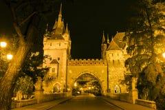 Vajdahunyad城堡在一个夏夜在布达佩斯 库存照片