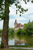 Vajdahunyad Castle. View on Vajdahunyad Castle from the lake and the city park on a bright sunny spring day, Budapest, Hungary Stock Photography