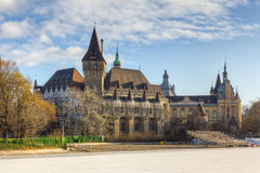 Vajdahunyad Castle, Budapest, Hungary. A HDR shot made of 3 exposures of Vajdahunya Castle, Budapest, Hungary. It is now the Agricultural museum stock images