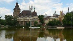 Vajdahunyad castle, budapest, hungary, timelapse, zoom out, 4k stock footage