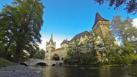 Vajdahunyad castle in Budapest. Vajdahunyad castle view from lakeside. Budapest, Hungary (Time Lapse stock video