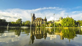 Vajdahunyad castle in Budapest. Vajdahunyad castle view from lakeside. Budapest, Hungary (Time Lapse stock footage