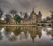 Vajdahunyad Castle, City Park, Budapest, Hungary with reflection in the lake royalty free stock images