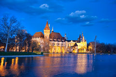 Vajdahunyad castle in the evening with lake, Budapest, Hungary Stock Photography