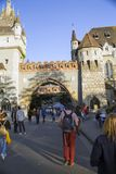 Tourists take photos of Vajdahunyad Castle in Hungary in Budapest. stock photo