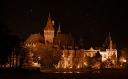 Vajdahunyad slott i Budapest p? natten arkivfoton