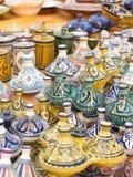 Vajilla coloreado de Marruecos Imágenes de archivo libres de regalías