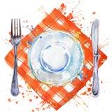 Vajilla, cubiertos, placas para la comida, bifurcación, cuchillo de tabla y una servilleta del paño ejemplo del fondo de la acuar Fotos de archivo