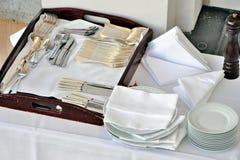Vajilla en el restaurante Imagen de archivo libre de regalías