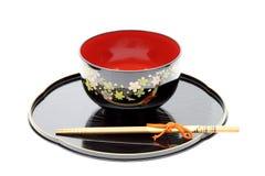 Vajilla, palillos y tazón de fuente tradicionales Imagen de archivo
