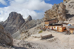 The Vajolet Towers and the Principe hut Stock Photo