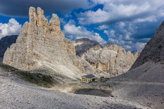 Vajolet Towers. The Vajolet Towers, in the Rosengarten Group of Dolomites Royalty Free Stock Photography