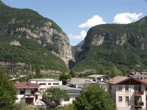 Vajont dam view from Longarone Stock Image