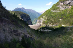 Vajont Dam. A view of Vajont Dam. On 9 October 1963 a massive landslide (Toc Mountain) fell into the reservoir. The water to overtop the dam in a giant wave that Stock Photography