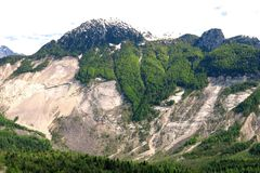 Vajont Landslide Erosion Mudslide. Vajont rock slide landslide erosion mudslide mountains Stock Photo