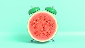Vak upp formade vattenmelon för tappning den morgon framförande 3d vektor illustrationer