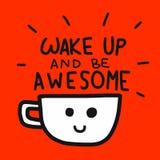 Vak upp och att vara enorm illustration för ord- och kaffekopptecknad film royaltyfri illustrationer