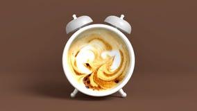 Vak upp tappningmorgonen som formas i kopp kaffe framförande 3d royaltyfri illustrationer