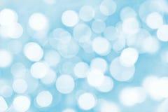 Vakantie blauwe achtergrond met vage lichten Stock Afbeelding