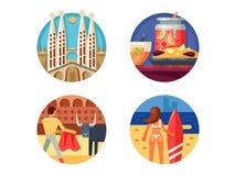 Vakantie in de vastgestelde pictogrammen van Spanje royalty-vrije illustratie