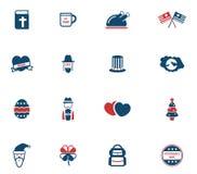 Vakantie eenvoudig pictogrammen Stock Afbeeldingen