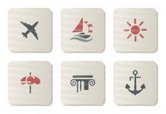 Vakantie en pictogrammen Treval | De reeks van het karton Stock Foto
