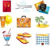 Vakantie en reis geplaatste pictogrammen royalty-vrije illustratie