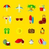 Vakantie en vakantie vectorpictogrammen Stock Foto