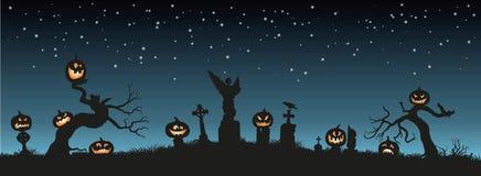 Vakantie Halloween Zwarte silhouetten van pompoenen op de begraafplaats op nachthemel vector illustratie