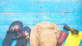 Vakantie, het stilleven van de de zomervakantie Vlak leg, goede exemplaarruimte stock foto