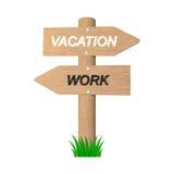 Vakantie houten teken. 2d illustratie Stock Afbeeldingen