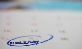 Vakantie in Kalender Stock Foto's