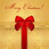 Vakantie/Kerstmis/Verjaardagskaart. Giftdoos, boog Royalty-vrije Stock Foto's