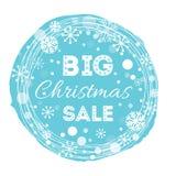 Vakantie om blauwe kader verfraaide sneeuwvlokken en Verkoop van tekst de Grote Kerstmis Stock Afbeelding