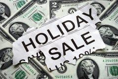 Vakantie op verkooptekens met zowat $2 dollarsrekeningen Royalty-vrije Stock Afbeelding