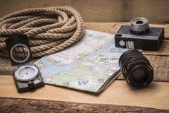 Vakantie planning met een kaart Stock Foto