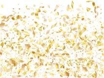 Vakantie realistische gouden confettien die op zwarte achtergrond vliegen vector illustratie
